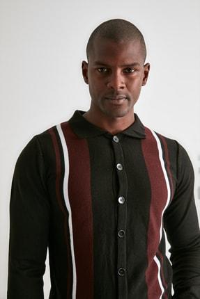 TRENDYOL MAN Siyah Erkek Panelli Triko Hırka TMNAW21HI0399 2