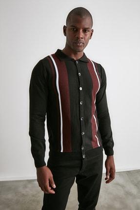 TRENDYOL MAN Siyah Erkek Panelli Triko Hırka TMNAW21HI0399 3