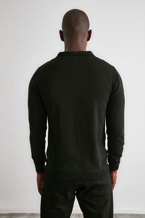 TRENDYOL MAN Siyah Erkek Panelli Triko Hırka TMNAW21HI0399 4