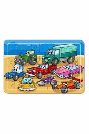 Baskı Atölyesi 54 Parça Arabalar Ahşap Puzzle 0