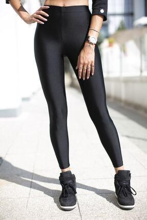 Lovely&Nice Kadın Siyah Yüksek Bel Toparlayıcı Parlak Disco Tayt 1