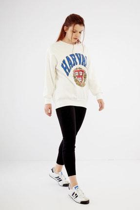 citycenterfashion Kadın Ekru Harvard Sweatshirt Cty-abr-7299 2