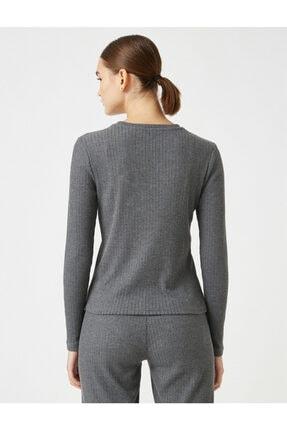 Koton Kadın Gri Pamuklu Uzun Kollu Pijama Üstü 3