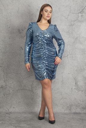 Şans Kadın Mavi Ko Ve Ön Büzgü Detaylı Astarlı Payet Elbise 65N19783 2