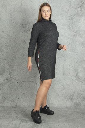 Şans Kadın Antrasit Yarım Balıkçı Yakalı Yan Şerit Detaylı Elbise 65N19813 0
