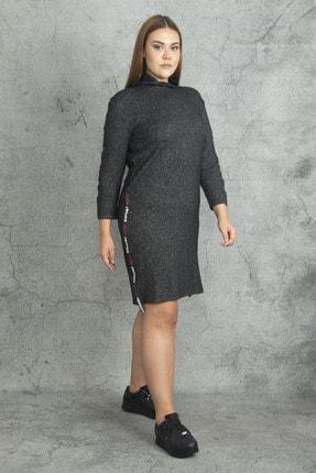 Şans Kadın Antrasit Yarım Balıkçı Yakalı Yan Şerit Detaylı Elbise 65N19813 1
