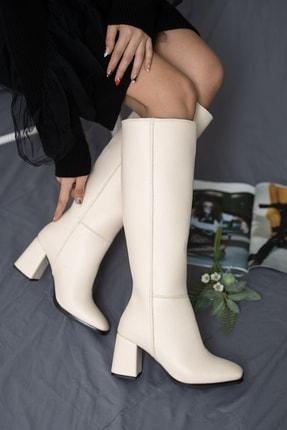 SHUMBU Kadın Kare Krem Pullu Cilt Çizme 1