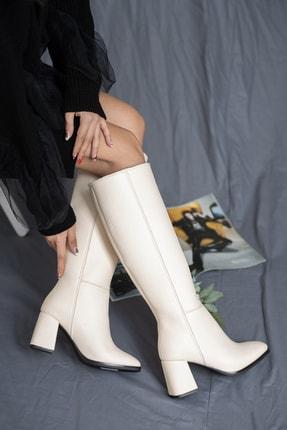 SHUMBU Kadın Kare Krem Pullu Cilt Çizme 2