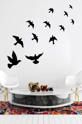 MSticker Uçan Kuşlar Dekoratif Duvar Sticker Kuş Sürüsü (58x61cm) 1