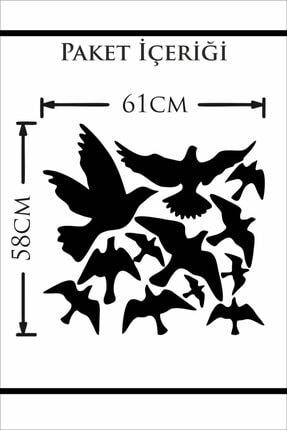 MSticker Uçan Kuşlar Dekoratif Duvar Sticker Kuş Sürüsü (58x61cm) 3
