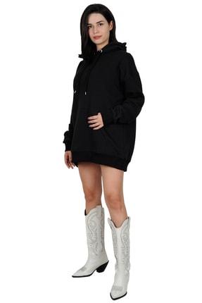 Betta Moda Kadın Siyah Oversize Kapüşonlu Sweatshirt 0