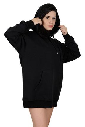 Betta Moda Kadın Siyah Oversize Kapüşonlu Sweatshirt 1