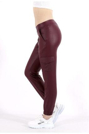 TREND34 Kadın Bordo Deri Görünümlü Cepli Pantolon 3