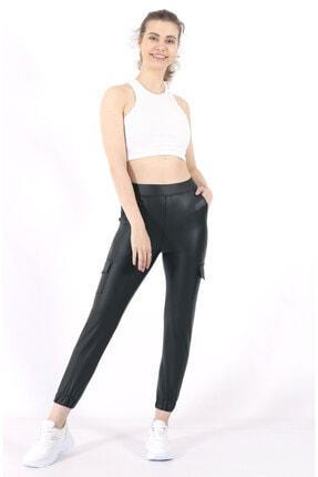 TREND34 Kadın Siyah Deri Görünümlü Cepli Pantolon 1