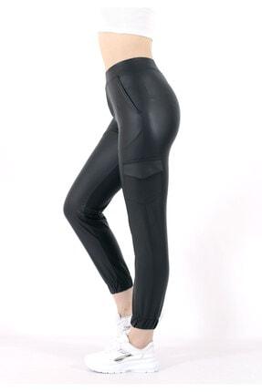 TREND34 Kadın Siyah Deri Görünümlü Cepli Pantolon 3
