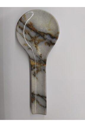 Keramika Gri Mermer Desenli Kepçe Altlığı Kaşıklık 0