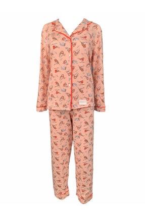 Koza Kadın Pembe Pamuklu Pijama Takımı 0