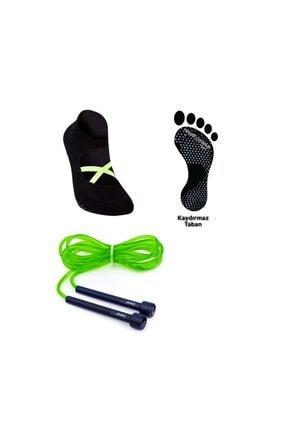 Yeşil Atlama Ipi- Siyah Pilates Çorabı Kaymaz Taban 37-44 YEŞİL ATLAMA İP- SİYAH PİLATES ÇORAP