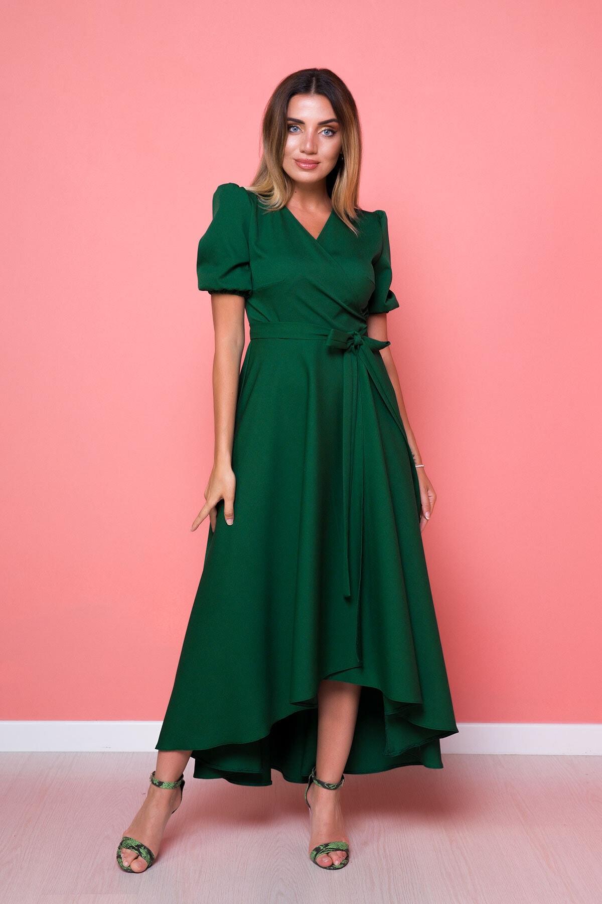 Kadın Yeşil Zümrüt Büyük Beden Asimetrik Kesim Elbise