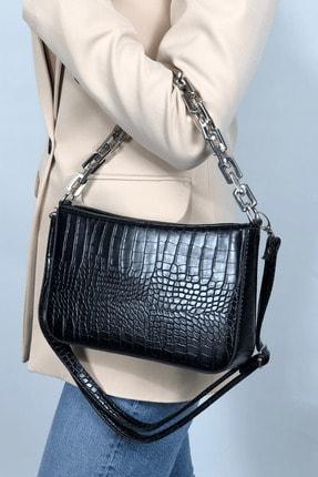 LinaConcept Kadın Siyah Kroko  Baget Zincir Askılı Omuz Çantası 0