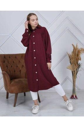 ATEMODAA Kadın Gömlek Elbise Bordo 1