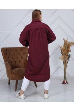 ATEMODAA Kadın Gömlek Elbise Bordo 2