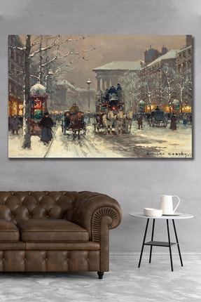 Hediyeler Kapında 100x140 Londra Ve Kış Kanvas Duvar Tablo 0