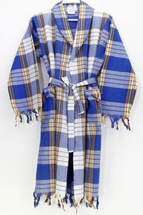 Elmira Kapşonlu Klasik Desen Peştemal Bornoz %100 Pamuk Standart Mavi 00504-M58-R81