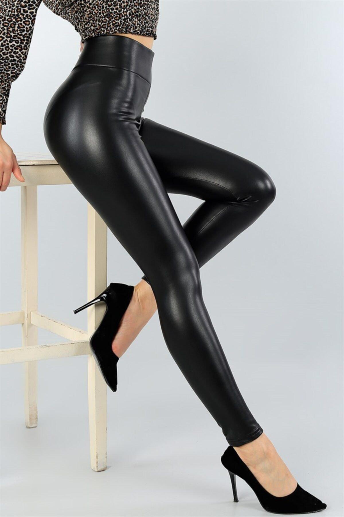 Kadın Siyah Esnek Suni Deri Yüksek Bel Deri Pantolon
