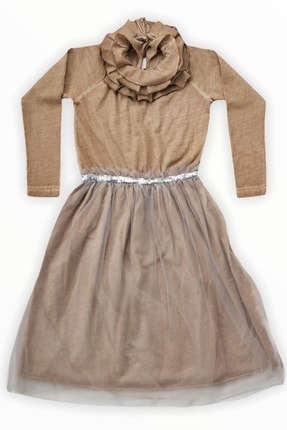 Me And The Bowie Kız Çocuk Kahverengi Volan Yaka Tül Etekli Elbise 1