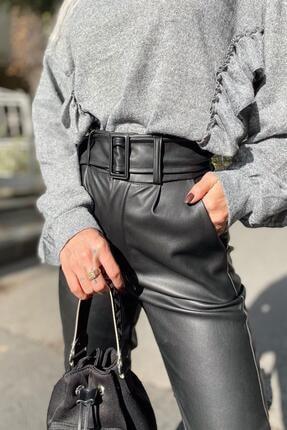 SwistLuxury Kadın Siyah Yüksek Bel Kemerli Suni Deri Pantolon 3