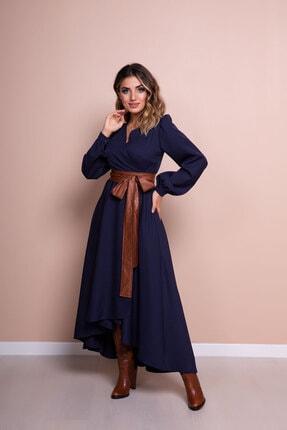 Bidoluelbise Kadın Lacivert Deri Kemerli Uzun Kol Asimetrik Kesim Elbise 2