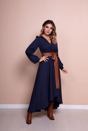 Bidoluelbise Kadın Lacivert Deri Kemerli Uzun Kol Asimetrik Kesim Elbise 3