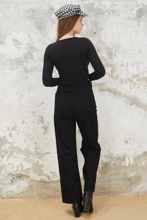 Orjinshop Kadın Siyah Palazzo Kot Pantolon 4