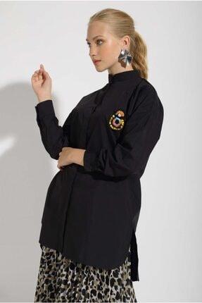 Missemramis Kadın Yanları Yırtmaçlı ve Broşlu Gömlek 202834 2
