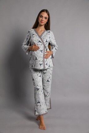 Lohusa Sepeti Kadın İndigo Noa Lohusa Pijama Takımı 1