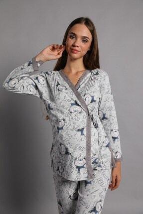 Lohusa Sepeti Kadın İndigo Noa Lohusa Pijama Takımı 2