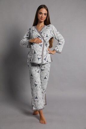 Lohusa Sepeti Kadın İndigo Noa Lohusa Pijama Takımı 4