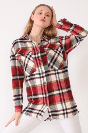 trendolur Kadın Kırmızı Çift Cepli Oduncu Gömlek 4