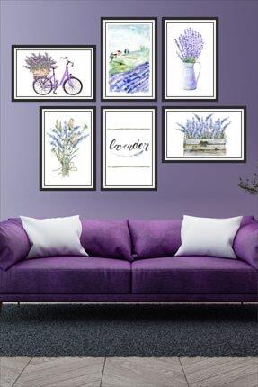 Dekor Sevgisi 6 Parça Çerçe Görünümlü Mor Renk Lavanta Çiçek Bisiklet Pvc Tablo Seti 30x20cm 3mm 0