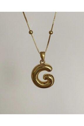 Vi store 925 Ayar Gümüş G Harfli Dolgu Kolye 0