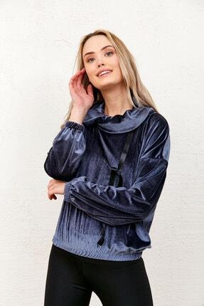 Eka Kadın Gri Kadife Degaje Yaka Yakası Bağcıklı Sweatshirt 1