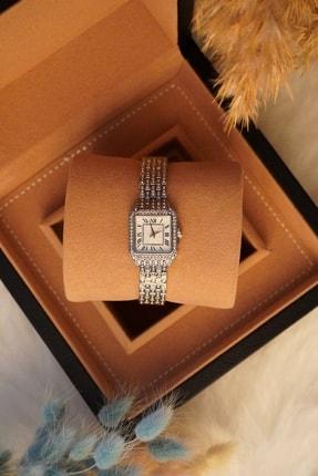 Ricardo Saat Kadın Çelik Taşlı Kordon Kare Gümüş Renk Vintage Bayan Kol Saati 1
