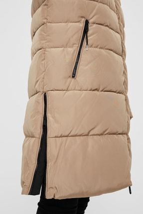 Vero Moda Kadın Bej Kapüşonlu Regular Fit Uzun Şişme Mont  10230830 3