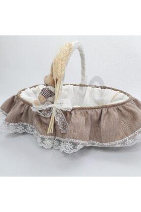 Sevgi Bağı Bebek Şekeri Sunum Sepeti Linen Keten Kumaş Avangart Başak Buğday 2