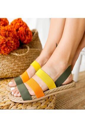 Muggo Kadın Yeşil Şeritli Sandalet 1