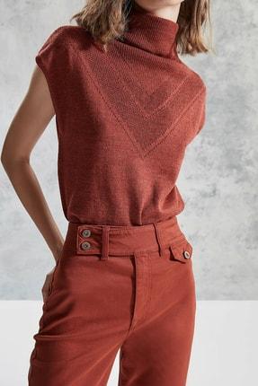 Yargıcı Kadın Kiremit Çift Düğme Detaylı Pantolon 0KKPN3120X 3