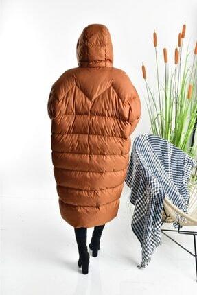 Linada Outfit Kadın Taba Uzun Oversize Şişme Mont 2
