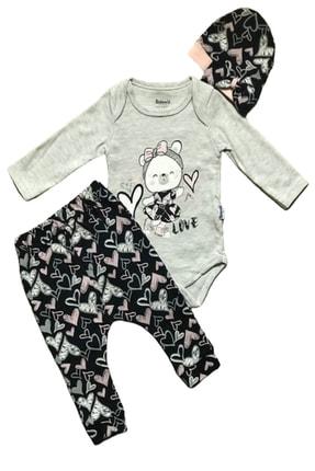 Bebek Gri Kalpli Love Badili Takım resmi