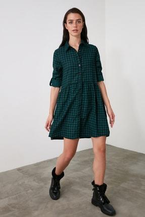 TRENDYOLMİLLA Petrol Gömlek Elbise TWOAW21EL2090 0